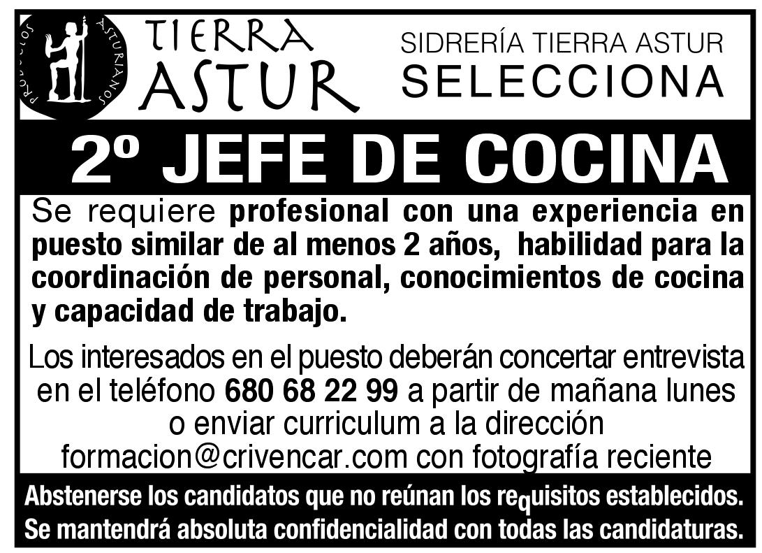 Oferta de empleo en sidrer a tierra astur llana publicidad for Trabajo jefe de cocina
