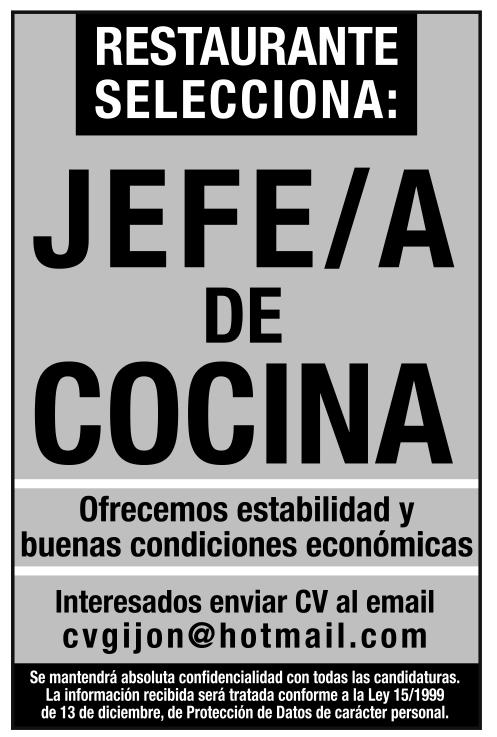 Oferta de empleo jefe de cocina llana publicidad - Trabajo de jefe de cocina ...